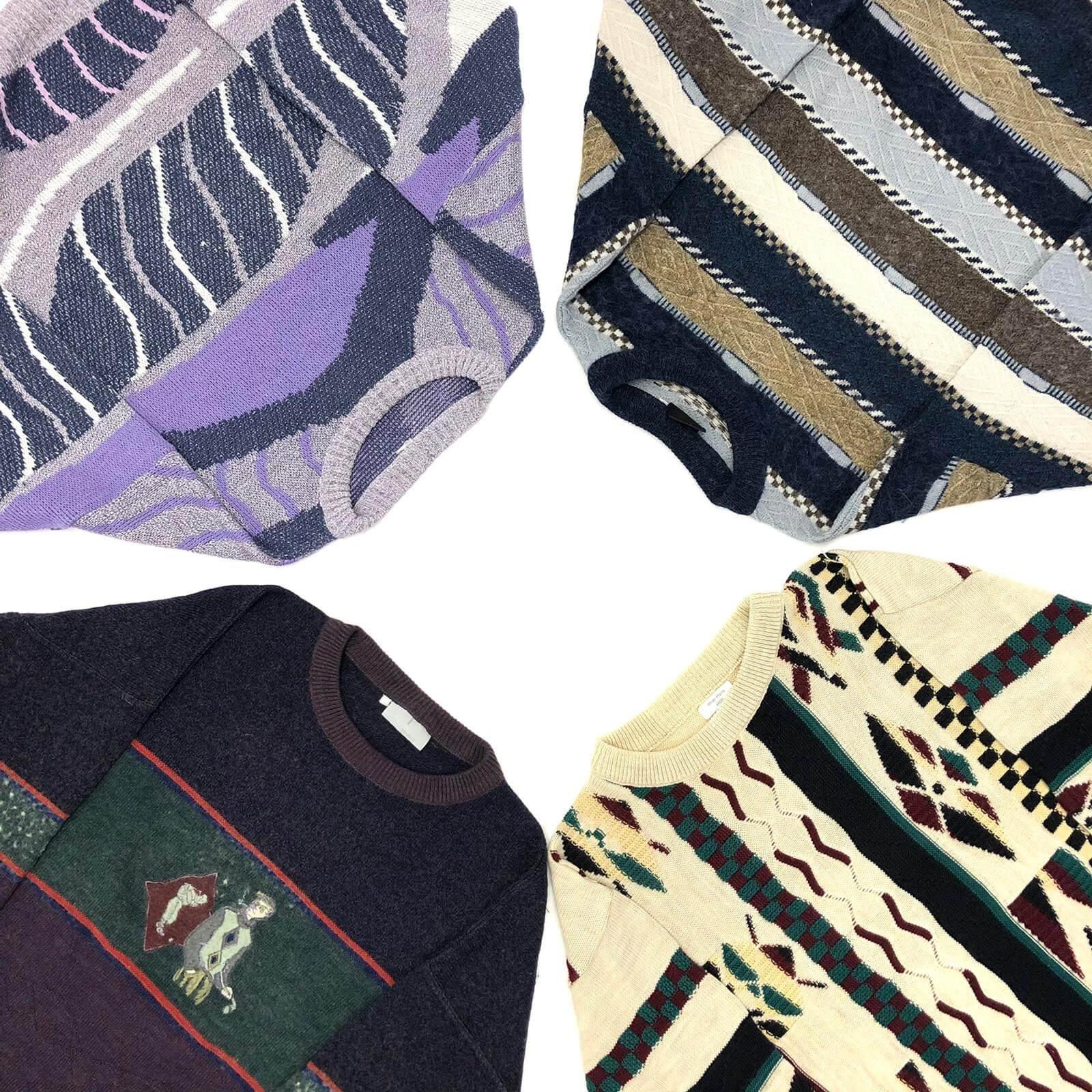 Vintage 80s Grandad Crazy Pattern Sweater