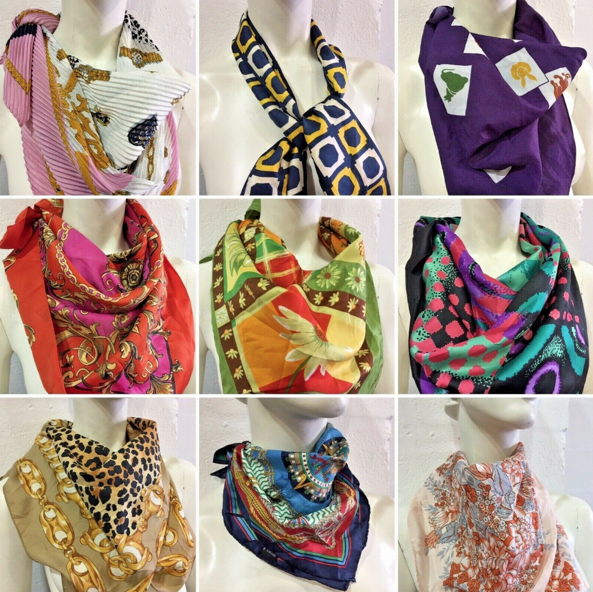 10 x Ladies Vintage Square Neck Scarves